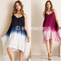 New SexY Women hi lo low omombré tie dye summer boho dress hi low hem New S M L