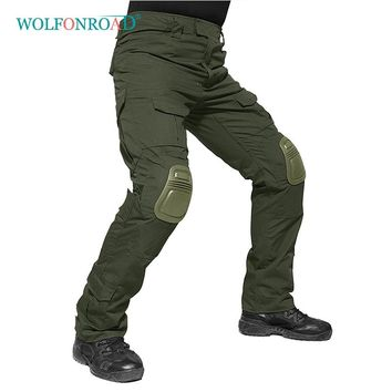 WOLFONROAD 2018 Men Military Pants With Knee Pads Men's Tactical Cargo Pants Army Green Soldier Pants Hiking Trousers L-JNSJ-01