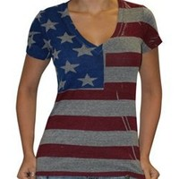 Junior Size Tri Blend Deep V American Flag T-shirt