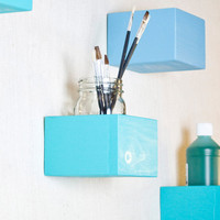 Wall Storage Organizer Box Shelf - Set of 6 Boxes - Aqua, Teal, Blue, Ocean - 2001 Ways