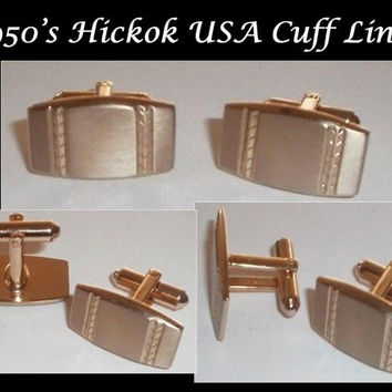1950's Classic Hickok USA gold brushed cufflinks