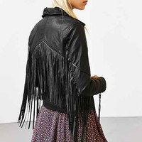 BLANKNYC Vegan Leather Fringe Jacket