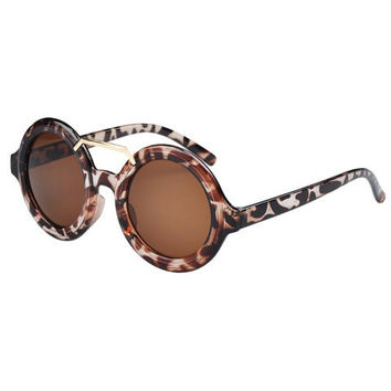 Round Frame Leopard Sunglasses with Alloy