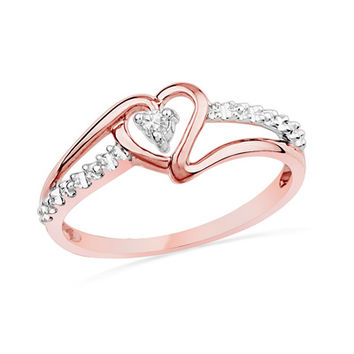 Diamond Accent Heart Promise Ring in 10K Rose Gold