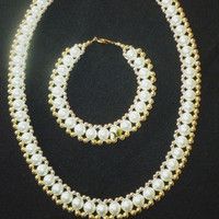 Vintage Glass Pearl Necklace and Bracelet Parure
