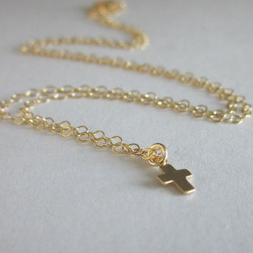 Dainty Gold Cross Necklace - Tiny Gold Filled Cross Glides on Gold Filled Chain
