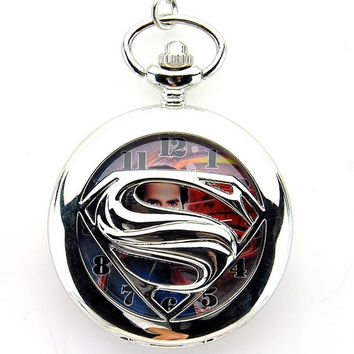 WogKok Pocket Watch Pierced Superman with Chain = 1946142020