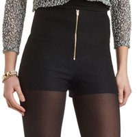 ZIP-FRONT HIGH-WAISTED SHORTS