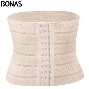 BONAS Women Hot Shaper Slimming Waist Cinchers Body Belt Girls Corset Corrective Underwear Lady Waist Trainer Solid Color Femme
