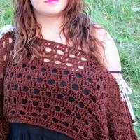 Off Shoulder Crop Sweater, Pullover, Crochet Shrug, Spring Summer Top, Crochet Top, Brown Crop Top