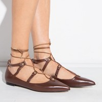 Brown lace up pointy flats