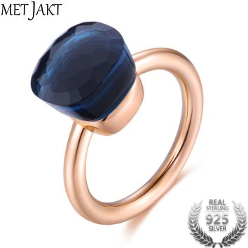 MetJakt 14K Rose Gold Color Topaz Ring 925 Sterling Silver Classic Rings with Natural Gemstone Agate for Women Best Jewelry