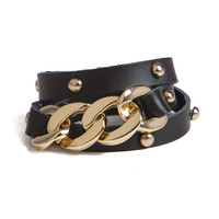 Chain Leather Stud Bracelet | 2020AVE