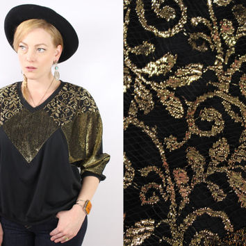 Vintage - 80s - Black & Metallic Gold Lame - Abstract - Floral Lace - Slouchy - Blouse - Top
