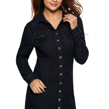 Dark Wash Long Sleeve Button Front Denim Dress LAVELIQ