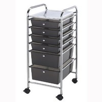 Blue Hills Studio Storage Cart with 6 Drawers 13-Inch by 32-Inch by 15-1/2-Inch, Smoke