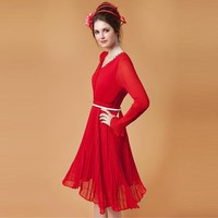 Sweet Charm Wave Lotus Red Dress - Designer Shoes|Bqueenshoes.com
