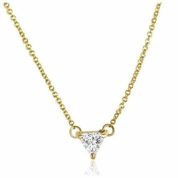 Luxinelle 0.50 Carat Trillion Cut Diamond Pendant Necklace - Minimalist 14K Rose, White or Yellow Gold