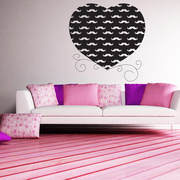 Vinyl Wall Decal Sticker Heart With Mustaches #1437