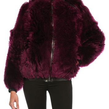 TOM FORD Lamb Fur Chubby Bomber Jacket, Wine and Matching Items
