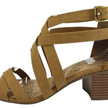 Cambridge Select Womens Strappy Open Toe Crisscross Ankle Chunky Stacked Block Mid Heel Sandal