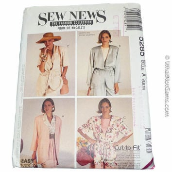 1980's Misses Lined & Unlined Jackets, Sew News The Fashion Collection - McCall's Pattern 5285 Size  6, 8, 10