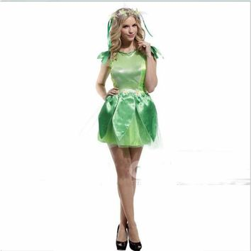 Halloween Stage Performance Clothing Adult Green Fairy Princess Dress Elves Cosplay Costume