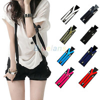 1PC New Mens Womens Unisex Clip-on Suspenders Elastic Y-Shape Adjustable Braces 00MK