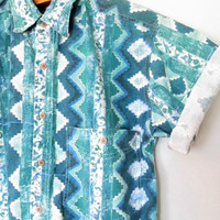 Vintage 1990s Aztec Print Short Sleeve Button Down Shirt