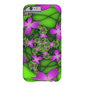 Modern Abstract Neon Pink Green Fractal Flowers Barely There iPhone 6 Case