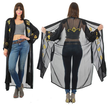 Boho jacket robe Hippie kimono Goth jacket sheer black robe Gold metallic embroidered robe heart jacket Goth robe gothic jacket witchy robe