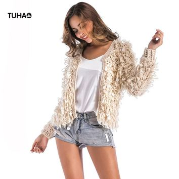 TUHAO Spring Faux Fur Knitted Bomber Jackets Women Basic Coat Long Sleeve Open Sequined Casual Outerwear Jaqueta Feminina TB7571