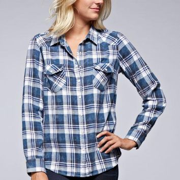 LOVESTITCH Women's Flannel Button Up Top Bleach Washed