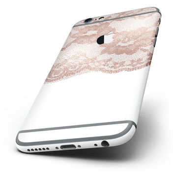The Rose Gold Lace Pattern 2 Six-Piece Skin Kit for the iPhone 6/6s or 6/6s Plus