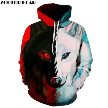 7a194404697 Different pupil Wolf Hoodies Sweatshirts Women Men 3D Printed Hoodies  Fashion Pullover Male Tracksuit Pocket Jacket