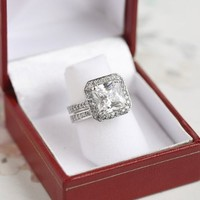 5 Carat Princess Cushion Cut Grade AAAAA CZ Engagement Ring & Band Set. Rhodium Plated - Size 6