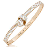 Carelle 18K Rose Gold & Pavé Diamond Knot Bangle