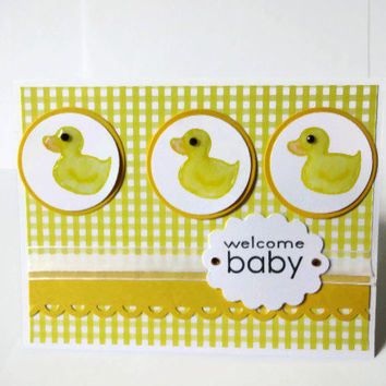 Baby Card Yellow Duck Card Baby Cards