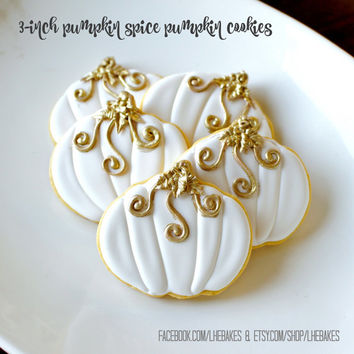 3-Inch Gold and White Pumpkin Spice Flavored  Sugar Cookies - 1 Dozen