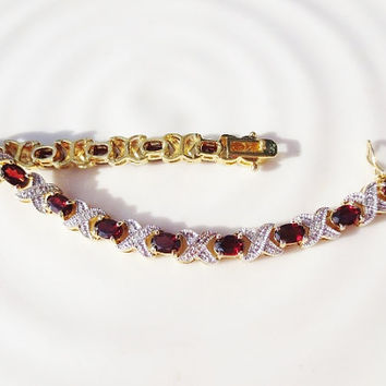 Vintage Garnet Bracelet Tennis Hugs and Kisses XO Silver Gold by Seta