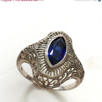 Sterling Silver Art Deco Style Dinner Ring,  London Blue, Filigree, Intricate Silver Work, Size 8