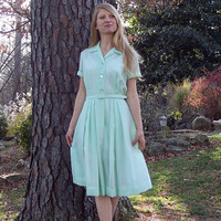 Vintage 50's Mint Green Shirtwaist Dress M Mad by RubyChicBoutique