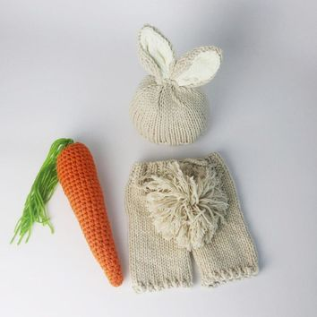Newborn Photography Baby Props Bunny Crochet Costume Set Rabbit Hats+Pants Handmade Knit Newborn Outfits fotografia accessories