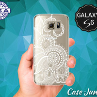 Henna Tattoo Flower Design Cute Tumblr Inspired Mandala Case for Clear Rubber Samsung Galaxy S6 and Samsung Galaxy S6 Edge Clear Cover