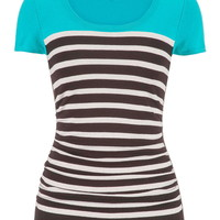 sweater with stripes and short sleeves in aqua crush