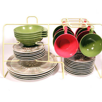 Vintage Pink and Green Melmac Dinnerware Set, 32 Pieces
