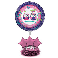 Air Filled Balloon Centerpiece Kit Owl Pal Birthday/Case of 4