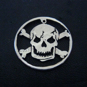 Skull and Crossbones Necklace, Hand cut Coin