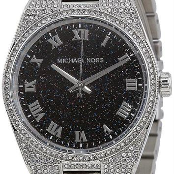 Michael Kors MK6089 Channing Blue Dial Womens Pavé Crystal Steel Watch
