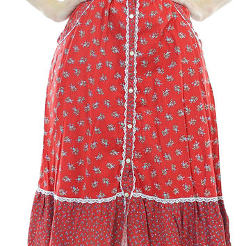 70s Boho red calico mini floral peasant skirt